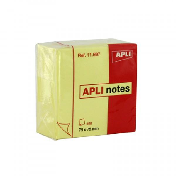 Αυτοκόλλητες Σημειώσεις Κίτρινες 75x75mm 400Φ. Apli