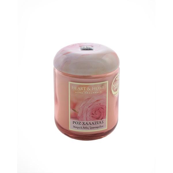Αρωματικό κερί - Ροζ Χαλαζίας HEART&HOME