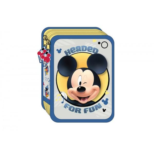 Κασετίνα Διπλή Γεμάτη 3D Mickey Mouse