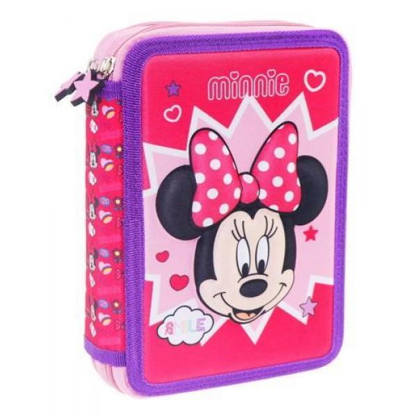 Κασετίνα Διπλή Γεμάτη 3D Minnie Mouse