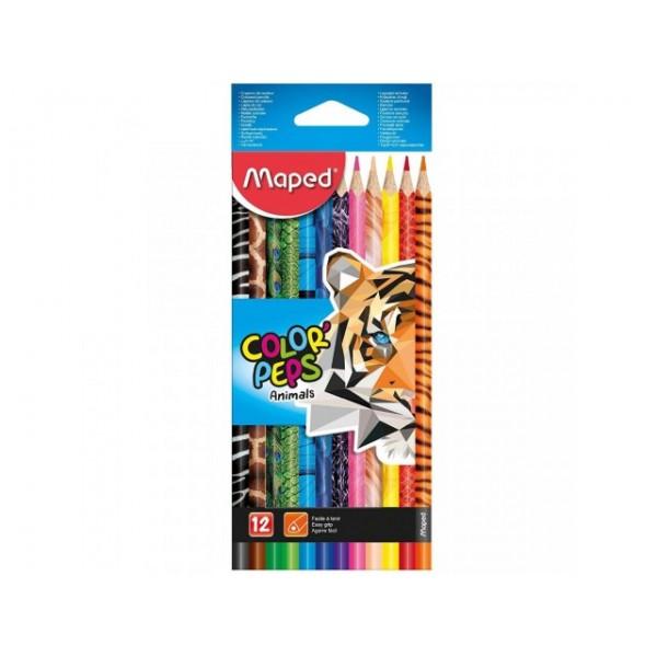 Ξυλομπογιές Maped Color Peps Animals 12τμχ