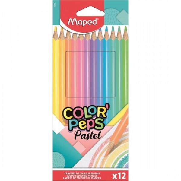 Ξυλομπογιές Maped Color Peps Pastel 12τμχ