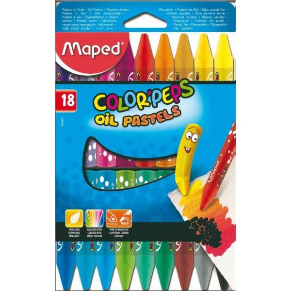 Λαδοπαστέλ Oil-Pastels Maped Color Peps 18 τμχ