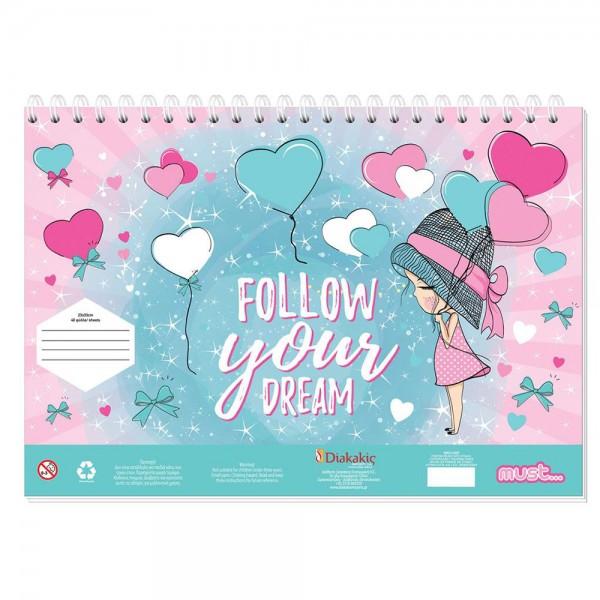 Μπλοκ Ζωγραφικής με Αυτοκόλλητα 23x33 40Φ Follow your Dreams