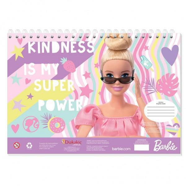 Μπλοκ Ζωγραφικής με Αυτοκόλλητα 23x33 40Φ Barbie