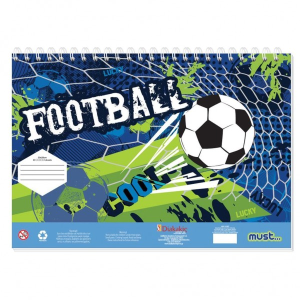 Μπλοκ Ζωγραφικής με Αυτοκόλλητα 23x33 40Φ Must Sports