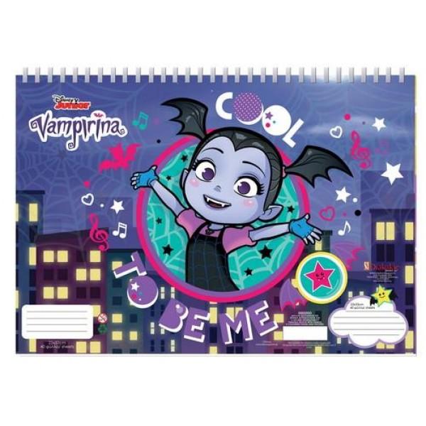 Μπλοκ Ζωγραφικής με Αυτοκόλλητα 23x33 40Φ Disney Vampirina
