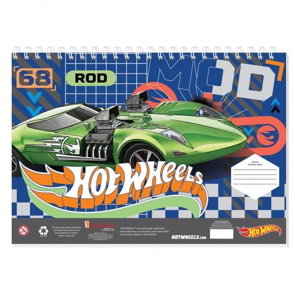 Μπλοκ Ζωγραφικής με Αυτοκόλλητα 23x33 40Φ Hotwheels