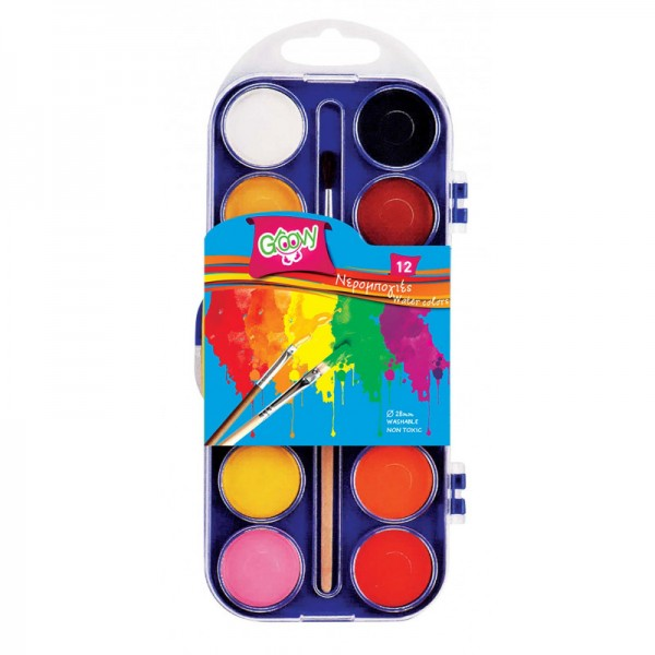 Νερομπογιές Σετ 12 Χρωμάτων με Πινέλο Groovy