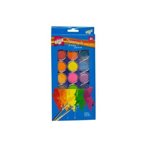 Νερομπογιές Σετ 21 Χρωμάτων με Πινέλο Groovy