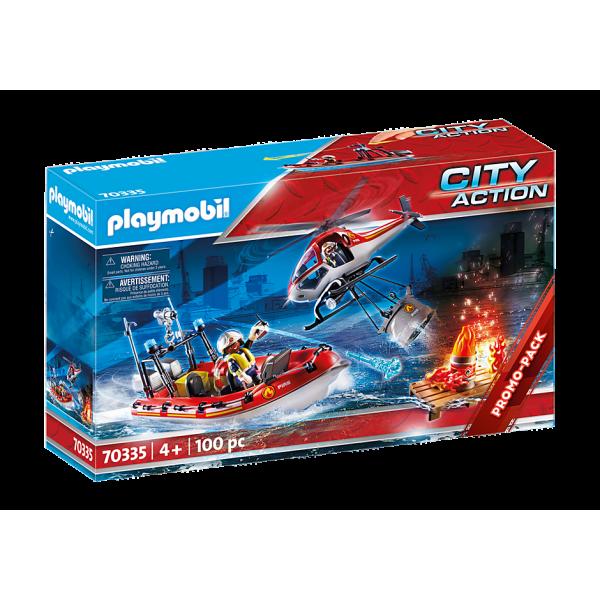 Playmobil 70335 Πυροσβεστικό σκάφος και ελικόπτερο