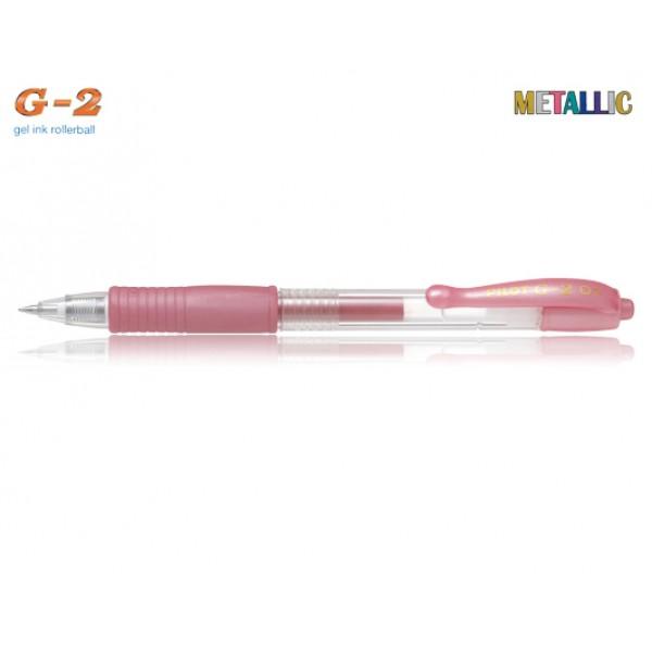 Στυλό G-2 0.7mm Ροζ Μεταλλικό Pilot