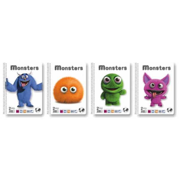 Τετράδιο Σπιράλ 1 Θέματος Α4 (σε 4 Σχέδια) Monsters Globus